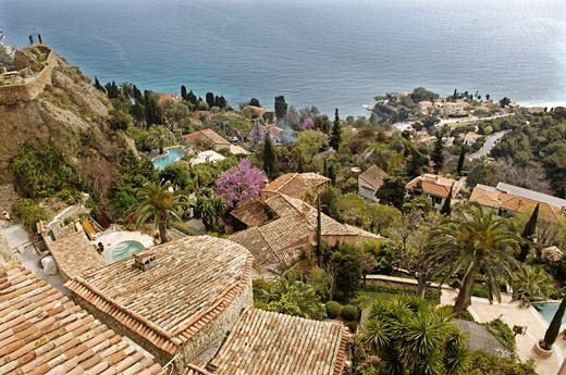 France, French Riviera, Roquebrune Cap Martin, elevated view of houses and swimming pools at seaside : Stock Photo