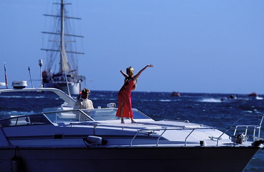 France, Alpes Maritimes (06) atmosphere on a yacht during the Cannes film festival : Stock Photo