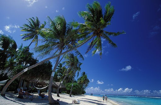 FRENCH POLYNESIA, BORA BORA ISLAND BEACH (LEEWARD ISLANDS) : Stock Photo