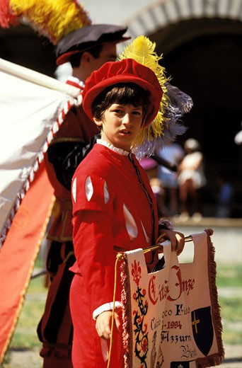 "Stock Photo: 1606-23333 Italy, Tuscany, Florence, ""Calcio Storico"" : historical parade in 16th century costumes"