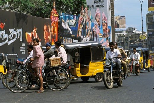 India, Tamil Nadu, Madras, street scene : Stock Photo