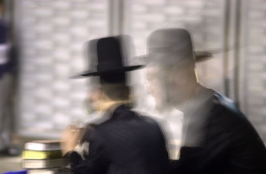 IN*Israel, Jerusalem, Mur des Lamentations (Kotel), silhouettes 2 religieux , pile de livres, effet spécial : Stock Photo