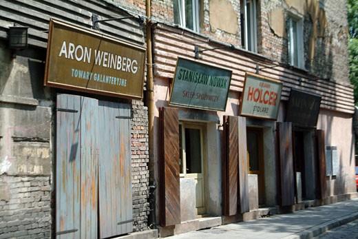 IN*Pologne, Cracovie, quartier Kaziemier, façades de magasins juifs d'avant guerre : Stock Photo
