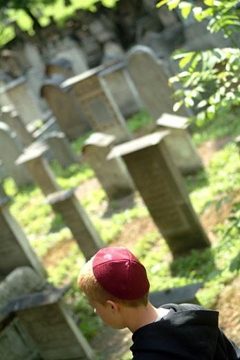 IN*Pologne, Cracovie, cimetière juif, petit garçon avec kippa rouge marchant parmi pierres tombales, verdure : Stock Photo
