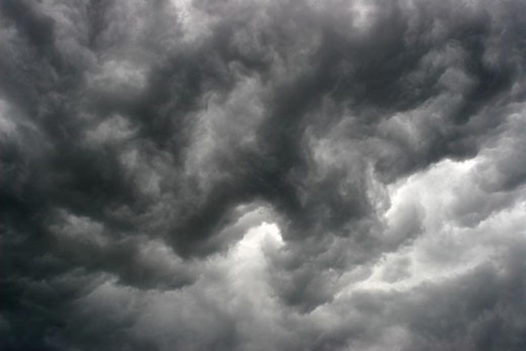 Stormy sky, black clouds : Stock Photo
