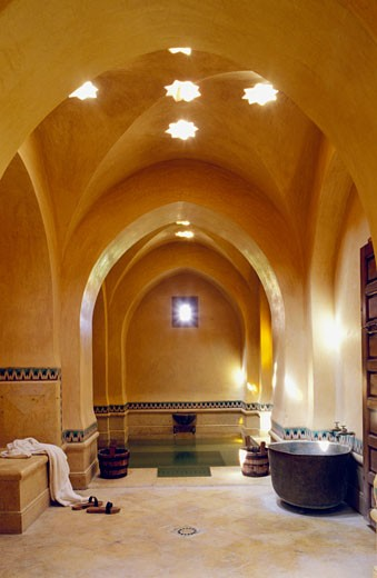 Stock Photo: 1606-27057 Morocco, Marrakech, inside Turkish bath of « Les 2 Tours », yellow archways