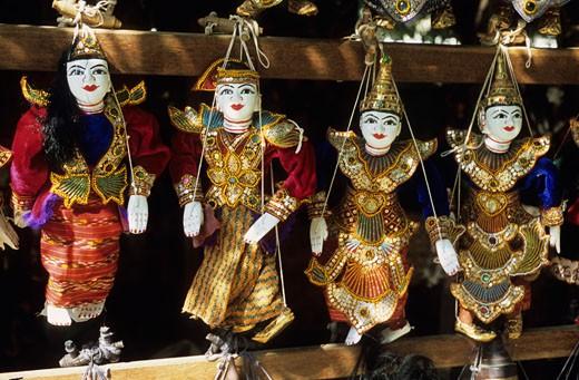 Burma, Mandalay, close-up on marionettes : Stock Photo