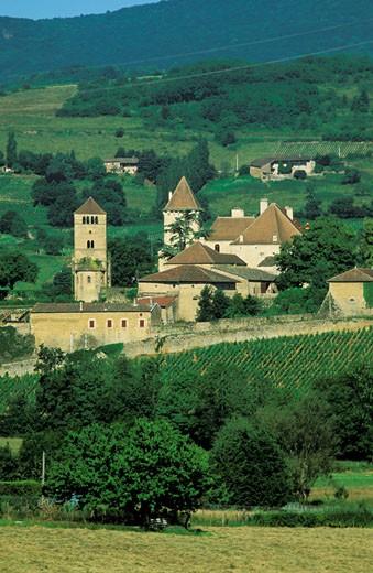 France, Burgundy, Saône et Loire, Château de Pierreclos, : Stock Photo