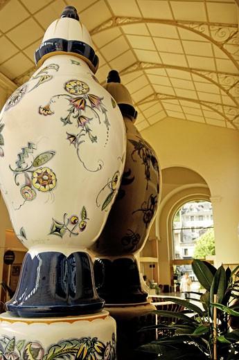 France, Auvergne, Puy-de-Dôme, thermal baths of la Bourboule, close-up on two big vases : Stock Photo