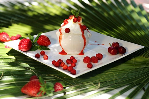 Stock Photo: 1606-33363 Close-up on white pot full of ice cream, coulis and red berries in white plate, palm leave