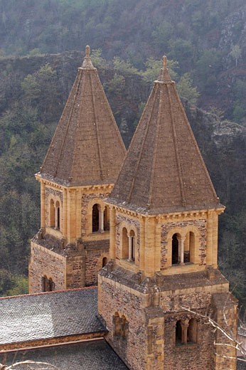 Conques, bell tower of Ste Foy abbey church : Stock Photo