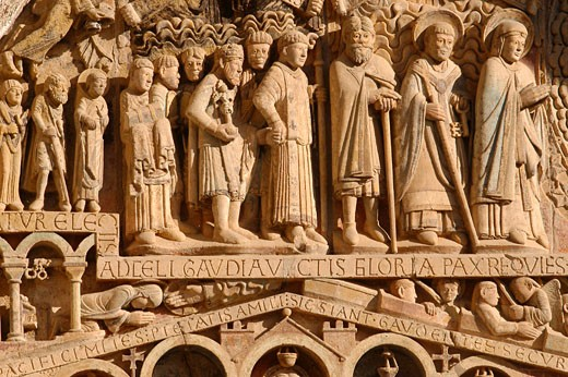 Conques, Ste Foy abbey church, tympan of the Last Judgement : Stock Photo