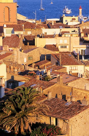 France, Provence Alpes Côte d'Azur, Var, Saint Tropez, roofs : Stock Photo