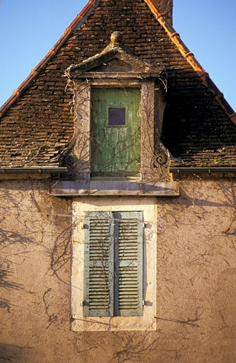 Stock Photo: 1606-36701 Detail of tower in Moutiers st Jean