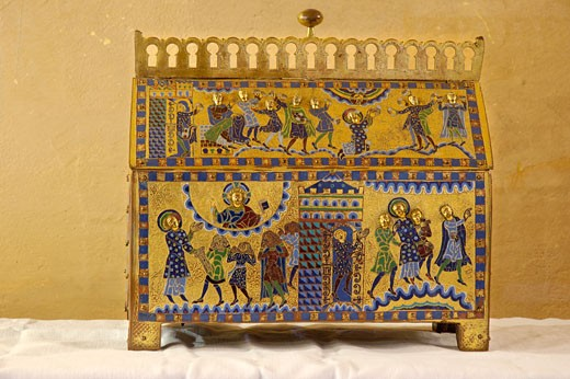 Stock Photo: 1606-36799 Gimel-les -Cascades, inside st Pardoux church, st Etienne reliquary (12th) decorated with tinctures from Limoges