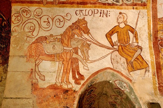 Stock Photo: 1606-36877 Gargilesse-Dampierre, inside Roman church(11-12th) frescos of the crypt (13th 15th)