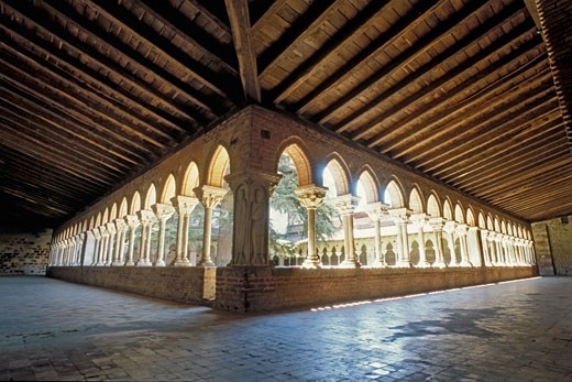 Stock Photo: 1606-37111 Moissac, cloister of the Saint Pierre abbey church, northern and eastern gallery