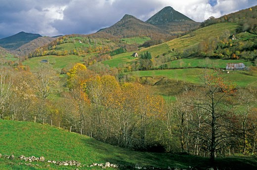 Mandailles valley landscape, farms, le Puy Griou in the background : Stock Photo