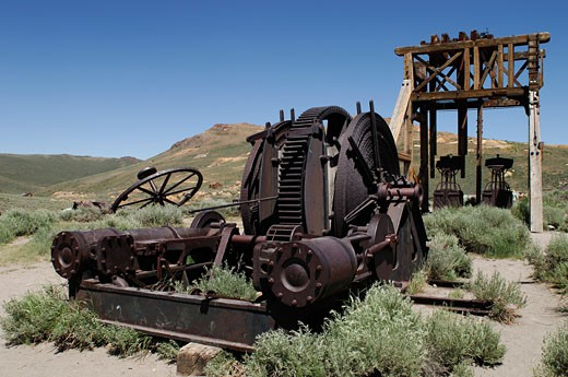 USA, California, Sierra Nevada, Bodie State Historic Park, gold-mining ghost town : Stock Photo