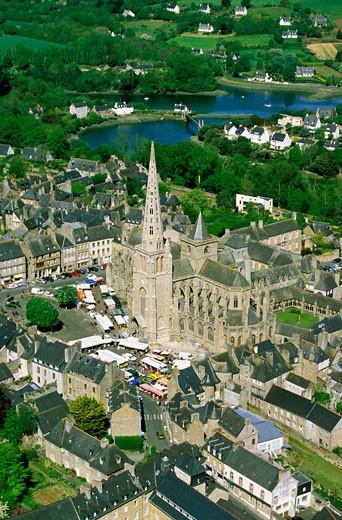 France, Brittany, Cotes d'Armor, Tréguier, aerial view : Stock Photo