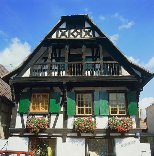 France, Alsace, facade house : Stock Photo