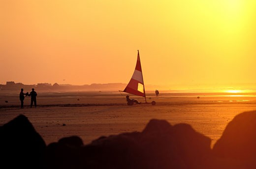 France, Normandy, Cabourg, sunset on the beach : Stock Photo
