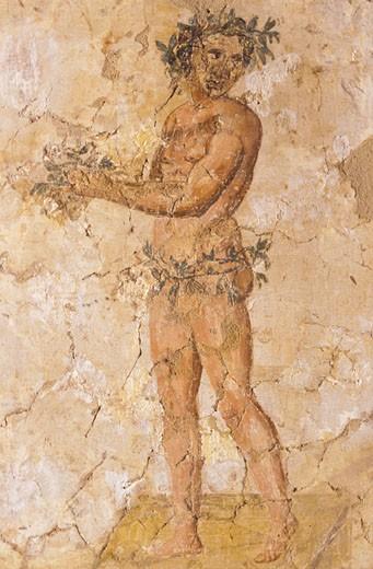 Detail d'une fresque romaine representant un homme avec une couronne de feuilles : Stock Photo