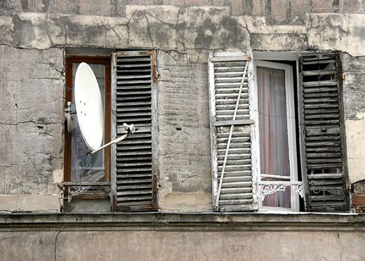 France, Paris, decayed facade, close-up : Stock Photo