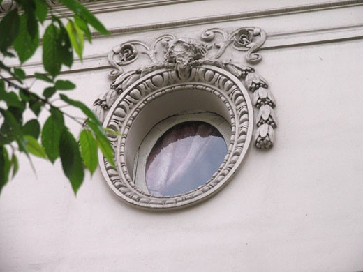 France, Paris, detail facade, bull's-eye, close-up : Stock Photo