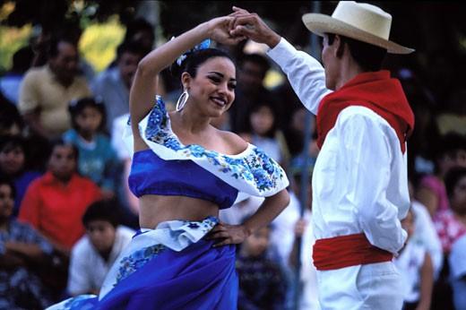 Mexico, Yucatan state, Merida, folk danse on main square : Stock Photo