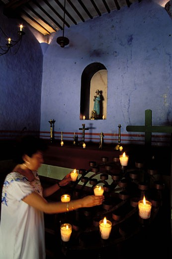 Mexico, Yucatan state, San Jose del Cholul Hacienda, little chapel : Stock Photo