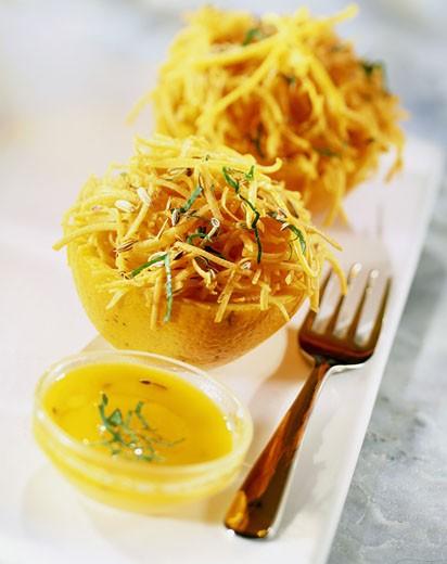 Carott and oranges salad : Stock Photo