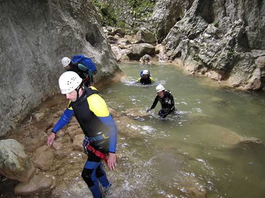 Stock Photo: 1606-43665 Spain, Aragon, sierra de Guara, canyoning