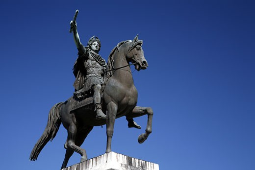 France, Languedoc-Roussillon, Hérault, Montpellier, equestrian statue of Louis 14th : Stock Photo