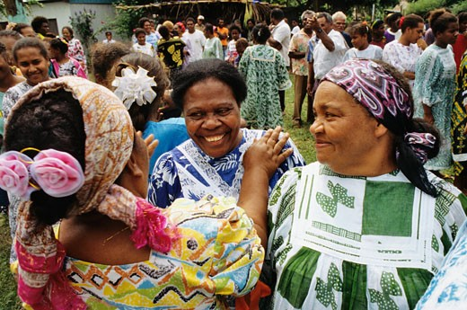 "New Caledonia, Yambe, women celebrating the Easter festival, clad in the ""missionary dress"" : Stock Photo"