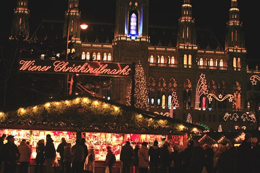 Austria, Wien, the famous Christkindlmarkt, Christmas market in front of the Rathaus (City hall) : Stock Photo