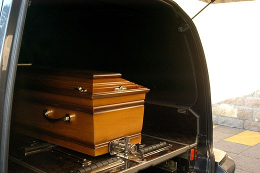 Stock Photo: 1606-49290 France, Pays de la Loire, Nantes, casket in hearse