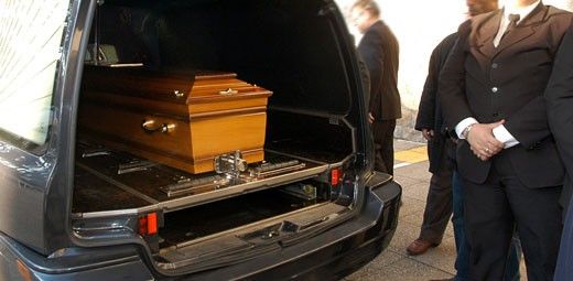 France, Pays de la Loire, Nantes, casket in hearse : Stock Photo