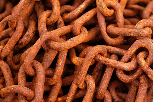 Rusty chain, close-up : Stock Photo