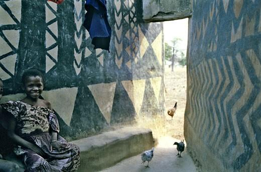 West Africa,Burkina Faso, Tiébélé, Gurunsi country, Kassena girl : Stock Photo