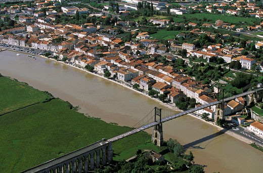 France, Poitou-Charentes, Charente Maritime, Tonnay bridge, aerial view : Stock Photo