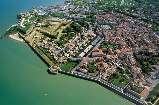 France, Poitou-Charentes, Charente Maritime, Oleron island, Oleron castle, aerial view : Stock Photo