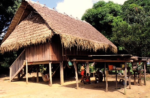 French Guyana (Overseas Territories) Antecum Pata indian village on Maroni river (indian country) : Stock Photo