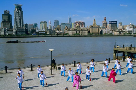 China, Shanghai, the Bund, Huangpu river, group exercise : Stock Photo