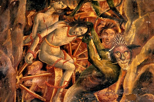 France, Midi-Pyrénées, Tarn, Albi, Sainte Cécile cathedral, Last Judgment painting : Stock Photo