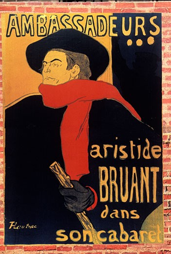 France, Midi-Pyrénées, Tarn, Albi, Toulouse-Lautrec museum, poster by Toulouse-Lautrec : Stock Photo