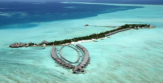 Maldives islands, aerial view of Taj Exotica hotel : Stock Photo