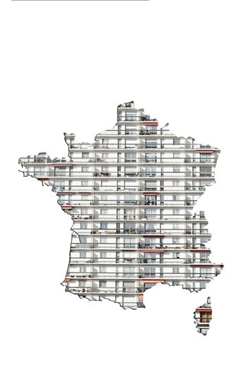 Building façade on map of France : Stock Photo
