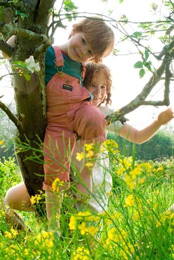 Stock Photo: 1606-54045 2 children climbing a tree