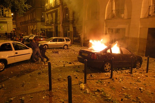 France, Pays de la Loire, Loire Atlantique, Nantes, anti-Sarkozy riots : Stock Photo